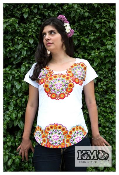 Damen Shirt aus Mexiko-Collar Floral